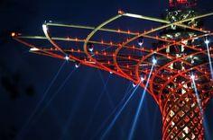 Expo, collaudo luci in notturna per l'Albero della Vita