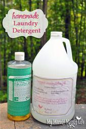 Homemade Laundry Detergent - 3/4 cup Dr. Bronner's Castile Soap (For laundry, I like to use the lavender, almondand citrus varieties), 1/2 cup Super Washing Soda, 1/2 cup Baking Soda, 20-50 drops of lavender - In a medium pan, fill with about!! 2 cups of water. Heat until about boiling. Take the Super Washing Soda and Baking Soda and pour them into the pot. Stir constantly for a few minutes until well dissolved. Add the castile soap and stir until well mixed. Fill your two-gallon bucket up…