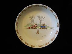 SALE Bunnykins Porridge plate TUG of WAR by SharriesLOVECOMFORTS on Etsy