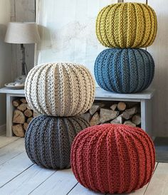 # Knitting Pouf This is essentially a fairly quick and simple project to crochet. If you have crocheted a weft before then you can crochet a pouf. Easy Projects, Knitting Projects, Knitting Patterns, Home Accessories, Cushions, Decoration, Furniture, Home Decor, Pillows