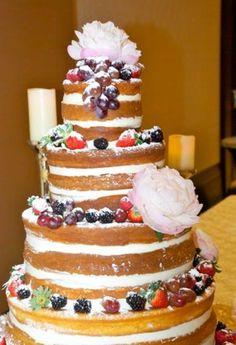 Beautiful naked cake  #prairieballroom #hiltongranitepark #hiltondpgp #events #weddings #reception #ceremony #plano #dallas #texas #setup #catering #hotel #centerpiece #florals #setup #rounds #nakedcake #weddingcake