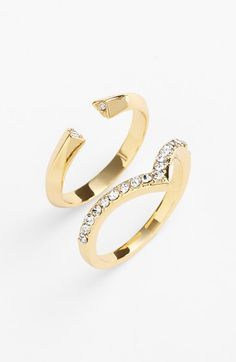 Ariella Collection Chevron & Open Rings (Set of 2) available at #Nordstrom