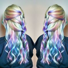 This pastel opal hair looks magical and is the perfect rainbow hair trend to try this summer. Pastel Rainbow Hair, Pastel Hair, Colorful Hair, Pastel Colored Hair, Lilac Hair, Green Hair, Blue Hair, Opal Hair, Dye My Hair