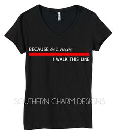 Because He's Mine, I walk this line Thin Red Line V-Neck T-Shirt