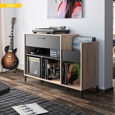 20 Coolest Urban Interiors For Music Lovers Vinyl Record Shelf, Record Cabinet, Living Room Vinyl, Vinyl Room, Turntable Setup, Home Music Rooms, Vinyl Storage, Audio Room, Living Room Remodel