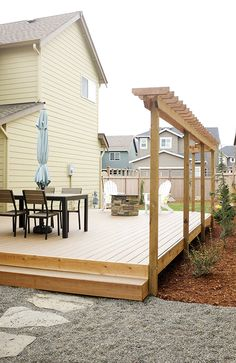 Small backyard with pea gravel and Trex deck