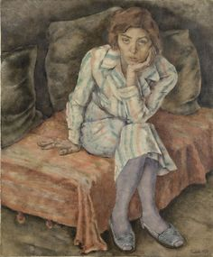 "Portrait of Hélène Sardeau by George Biddle (1885-1973), American - painter, muralist and lithographer, best known for his social realism and combat art. Biddle eventually turned to imagery of the Depression years and expression of ""spiritual nobility"" (philartmuseum) -"