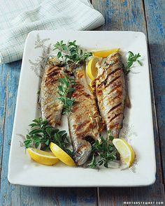Grilled Trout with Oregano    Fresh sprigs of oregano elevate simple preparations like grilled whole trout. Lemons, a sprinkling of salt, and a drizzle of olive oil help to balance the flavors.