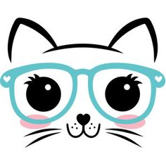 Silhouette Design Store: Cat Face With Glasses Silhouette Design, Silhouette Projects, Kitty Party, Cat Crafts, Cricut Creations, Cat Drawing, Easy Drawings, Cute Wallpapers, Painted Rocks