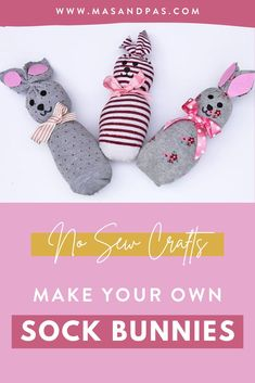 A hoppy kids craft idea for Easter! These DIY no sew sock bunnies are easy to make and a great kids craft project for Easter or any time of year. Gather some old socks, filling material, glue, and cute ribbons and accessories to teach your kids how to make the easiest little sock bunnies that you can use as Easter decorations or homemade play toys. #bunnycrafts #sockbunny #nosewcrafts #easykidscrafts #Eastercraftsforkids