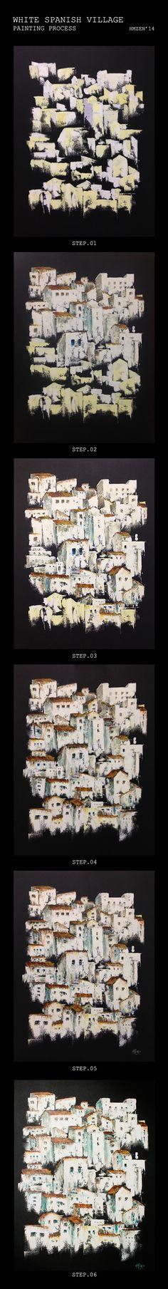 Proceso de creación del acrílico con espátula - Pueblo Español Blanco. Creation process of acrylic with spatula -  White Spanish Village. HMZEN'14