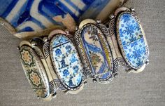 Portugal Cuff Bracelet with Antique Tile Replicas by Atrio on Etsy, $59.00
