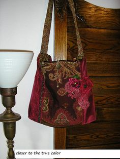 Red Velvet Bag handmade tapestry fabric roses ooak by GrandmaDede, $130.00