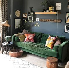 Green Velvet MADE Scott Sofa. Home Decor