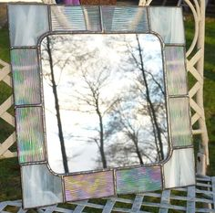 Stained Glass Mirror with White and Iridescent Clear frame