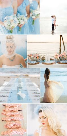 #Pastel blue wedding ... blue and peach beach... Wedding ideas for brides, grooms, parents & planners ... https://itunes.apple.com/us/app/the-gold-wedding-planner/id498112599?ls=1=8 … plus how to organise an entire wedding ♥ The Gold Wedding Planner iPhone App ♥