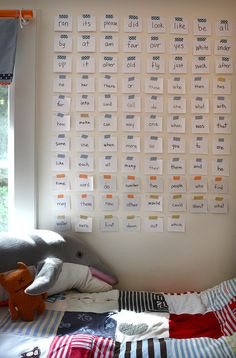 tape up the words that they've learned and make funny sentences at night in bed ~ keep adding ~ they feel so proud of their word wall