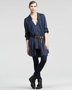 Sport Satin Top, Seamed Stretch Pants & Extra-Long Distressed Leather Belt  by Donna Karan at Neiman Marcus.#NMFallTrends