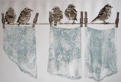 Sue Brown: Dirty Laundry - unframed - Collagraph - 67 x Mixed Media Painting, Mixed Media Collage, Collage Art, Collagraph Printmaking, Printmaking Ideas, Brown Art, Bird Art, Textile Art, Screen Printing