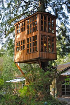 "curiously elaborate tree-house --- can this still be described as ""living off the grid"" ? I always wanted a tree-house in my backyard growing up however these modern versions look kick-ass! Home Design, Outdoor Spaces, Outdoor Living, Water Features In The Garden, Diy Holz, In The Tree, 10 Tree, Play Houses, Dream Houses"