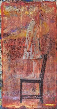 "Eugenio Cuttica   Luna on the Chair #2    74x40""    Mixed Media on Paper"