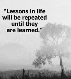 Education Quote:  Lessons in life will be repeated until they are learned.