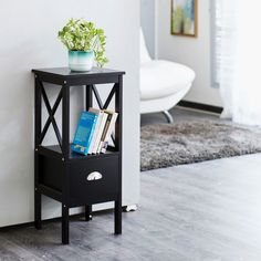 Delphina Planter Side Table   Black   Compressed Wood Blush And Grey Living Room, Corner Bookshelves, Black Side Table, Color Shades, Types Of Wood, Wood Design, Home And Living, Storage Spaces, Planters