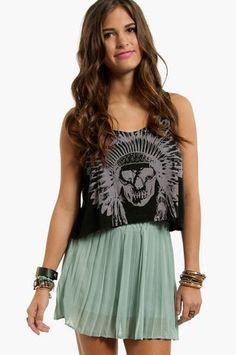 Short Pleated Chiffon Skirt  www.tobi.com