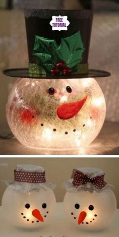 bowl snowman tutorial candle holder fish diy DIY Fish Bowl Snowman Candle Holder TutorialYou can find Fish bowl snowman and more on our website Cute Christmas Decorations, Snowman Christmas Decorations, Easy Christmas Crafts, Snowman Crafts, Homemade Christmas Gifts, Christmas Centerpieces, Christmas Snowman, Snowman Wreath, Snowman Globe Craft