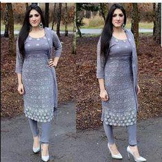 Alia Raffia in choridar pajama kameez Punjabi Fashion, Ethnic Fashion, Indian Fashion, Women's Fashion, Pakistani Dresses, Indian Dresses, Indian Outfits, Churidar Designs, Kurta Neck Design