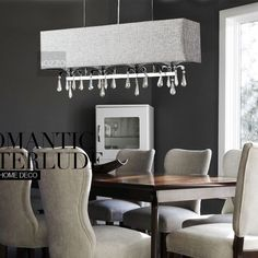 Linen Fabric Oblong Dining Room Ceiling Pendant Light Crystal Bar Chandeliers