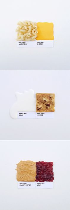 pantone pairings / mac & cheese / milk & cookies / peanut butter & jelly