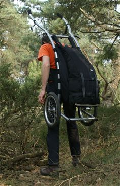 wheelie 3 walking trailor has backpack straps if the surface gets too rough to roll via Radicaldesign