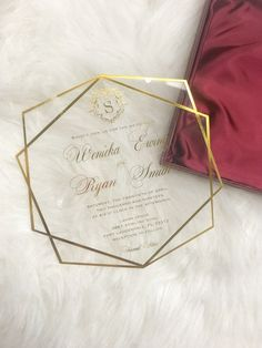 Personalized Custom Acrylic Clear Glass Wine Red Gold Geometric Themed Luxury Wedding Formal Invitation Design Set Suite - Home Decor Acrylic Wedding Invitations, Wedding Invitation Kits, Creative Wedding Invitations, Formal Invitations, Wedding Stationery, Invites, Red Gold, Wedding Cards, Wedding Envelopes