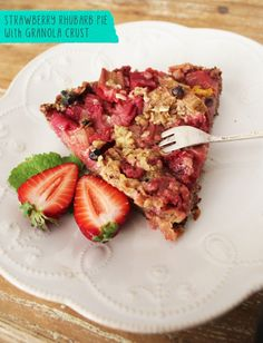 Strawberry Rhubarb Pie with Granola Crust #vegetarian