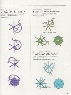 Embroidery Basic Stitches Lesson - Japanese Craft Book for Embroideries Beginner - Easy Hand Embroidery Tutorial, Reference, How to - - INSPIRATION: Spider web variations from Japanese embroidery basics {item no longer available on ets - Embroidery Stitches Tutorial, Hardanger Embroidery, Learn Embroidery, Silk Ribbon Embroidery, Embroidery For Beginners, Hand Embroidery Patterns, Embroidery Techniques, Embroidery Kits, Embroidery Scissors
