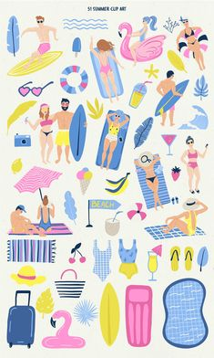 Good Vibes Summer Set by Bosotochka❤️Art on Beach Illustration, Pattern Illustration, Graphic Design Illustration, Summer Phrases, Don Du Sang, Summer Clipart, Drake, Clinic Design, Cup Art