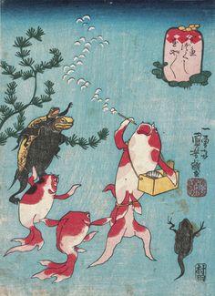 『金魚づくし 玉や玉や』_歌川国芳_INTOJAPAN