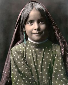"Tewa Pueblo Girl Native American Indian 8x10"" Hand Color Tinted Photograph 