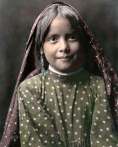 "Tewa Pueblo Girl Native American Indian 8x10"" Hand Color Tinted Photograph | eBay"