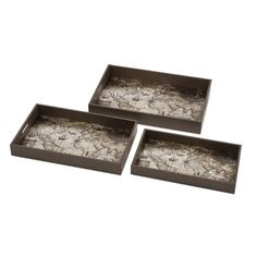 Map Trays: Where to? Contemplate the prospect of travels past and future with a trio of laquered serving trays lined with vintage maps of the world.