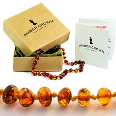 Amber Teething Necklace for Babies - Anti Inflammatory, Drooling and Teething Pain Reducing Natural Remedy - Made of Highest Quality Certified Baltic Amber - Polished Honey Tone Amber Beads - Perfect Baby Shower Gift - 100 Days 100% Satisfaction, Money-Back Guarantee!: Amazon.co.uk: Baby