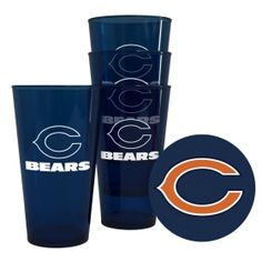 Chicago Bears Plastic Pint Glass Set  #NFL