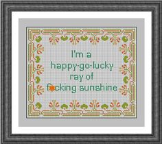 Happy - Go - Lucky Ray of Sunshine Subversive Sampler Cross Stitch Pattern PDF Instant Download Sarcastic and Rude by HeritageStitch on Etsy