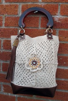 Rococo Handbags new Granny square crochet handbag with beaded tassle