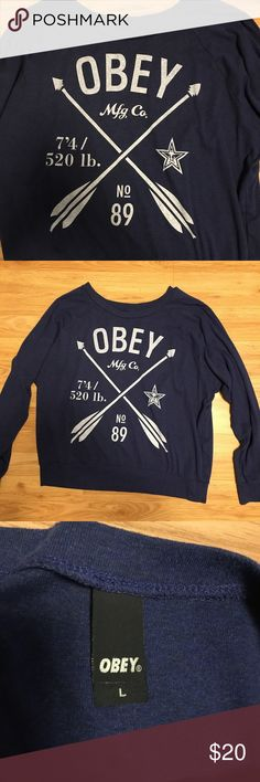 Obey crew neck sweatshirt / long sleeve Obey brand crew neck long sleeve. Really soft. Like new - only worn twice. Navy blue and white design Obey Tops Tees - Long Sleeve