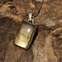 Labradorite square pendant necklace with oxidized silver ball chain