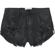 One teaspoon Vintage Black Bandits Shorts ($107) ❤ liked on Polyvore featuring shorts, bottoms, leather shorts, oneteaspoon and vintage shorts
