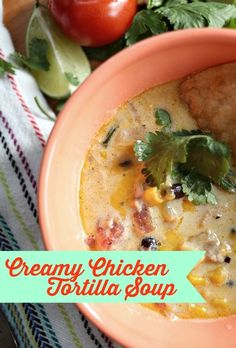creamy tortilla chicken soup will become your go-to recipe for leftover chicken and will become a favorite in your dinner rotations. It's easy and delicious! via lifeingrace Leftover Chicken Recipes, Leftovers Recipes, Recipe For Creamy Chicken Tortilla Soup, Turkey Recipes, Crockpot Recipes, Cooking Recipes, Healthy Recipes, Healthy Eats, Yummy Recipes