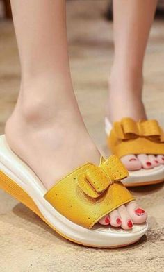 #shoes #fashion #winter #heels Yellow sandals with bow